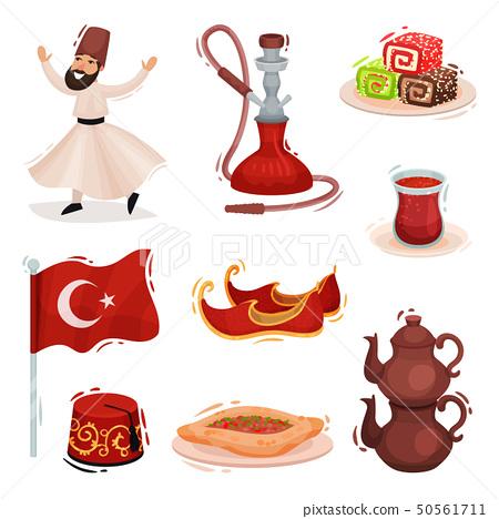 Collection Turkish national symbols. Vector illustration on white background. 50561711