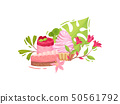 Piece of chocolate cake, raspberry cake with berries and basket with lush cream. Vector illustration 50561792