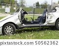 crashed car on field 50562362