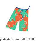 Men Beach Shorts, Summer Travel Symbol Vector Illustration 50563480