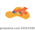 Straw Hat With Ribbon and Flowers, Summer Travel Symbol Vector Illustration 50563490