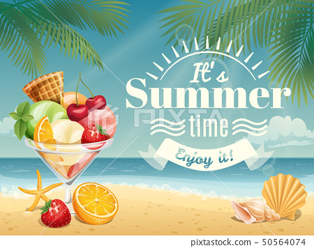 Summer  poster or card with summer elements  50564074