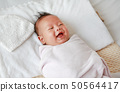 Portrait of newborn baby boy in a blanket. 50564417