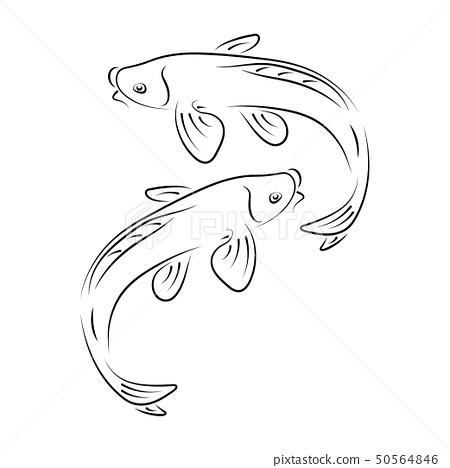 Japanese carp koi character abstract ink hand drawn vector logo cartoon. Retro illustration. Chinese 50564846