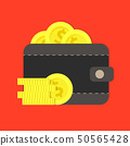 Gold coins in a leather purse vector flat 50565428
