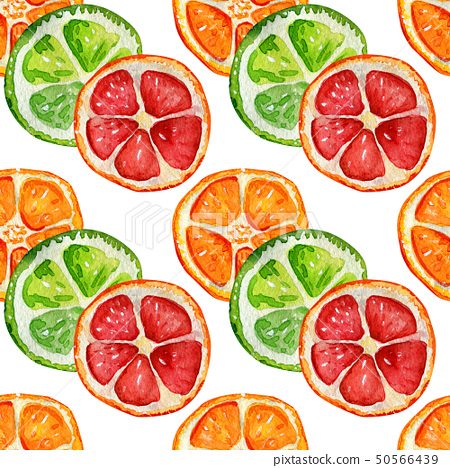 Seamless pattern with orange, grapefruit and lime. 50566439
