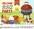 Barbeque picnic party poster meat steak roasted on round hot barbecue grill vector illustration. Bbq 50566807