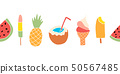 Summer treats seamless vector border. Repeating banner design with watermelon, popsicle, pineapple 50567485