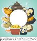 Chinese street, restaurant or homemade food ethnic menu vector illustration. Asian dinner dish plate 50567522