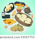 Chinese street, restaurant or homemade food ethnic menu vector illustration. Asian dinner dish plate 50567755