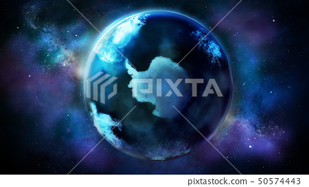 The day half of the Earth from space showing Antarctica. 50574443