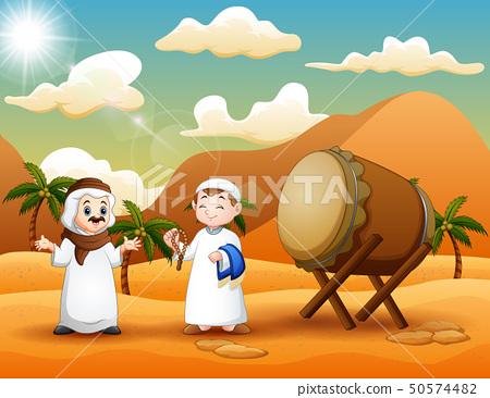 Two Arab mans in the desert landscape 50574482