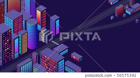 Background with concept of city and suburbs or outskirts view with isometric perspective and vibrant 50575392
