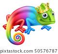 Chameleon King Crown Cartoon Lizard Character 50576787