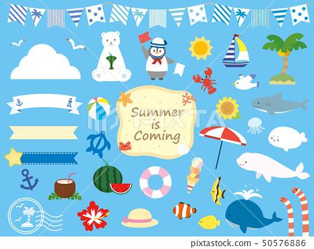 可愛的夏日插畫素材 50576886