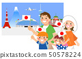 Cheering family Tokyo background 50578224