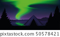 tent by the lake with beautiful green polar lights wildlife nature landscape 50578421