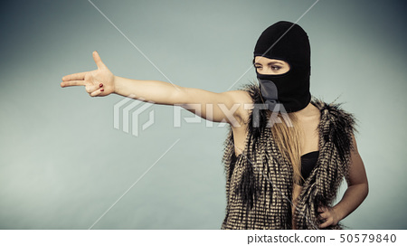 Woman sexy girl in balaclava, crime and violence 50579840