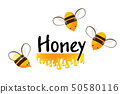 Cartoon bees and honey flow. Vector background for you design. 50580116