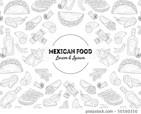 Mexican Food Banner Template with Hand Drawn Pattern, Restaurant or Cafe Menu Design Element Vector 50580350