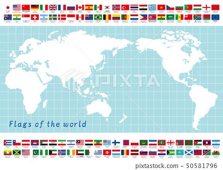 世界地圖和世界國旗 50581796