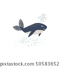 Cute whale cartoon illustration vector. Ocean animal character. 50583652