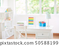 Kids bedroom with wooden desk and doll house. 50588199