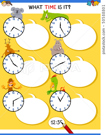 telling time educational task with animals 50588801