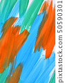 abstract background strokes of paint blue, orange and green 50590301