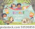 Children playing and having fun in the treehouse 50590856