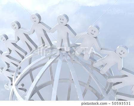 CG 3D 일러스트 입체 디자인 아이콘 표시 인 인류 미소 고리 지구 세계 평화 50593531