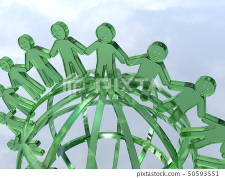 CG 3D 일러스트 입체 디자인 아이콘 표시 인 인류 미소 고리 지구 세계 평화 50593551