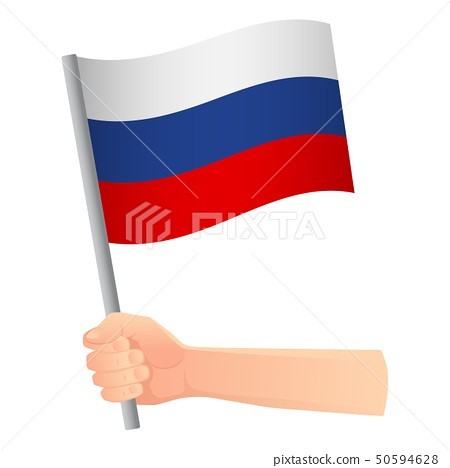 russia flag in hand 50594628