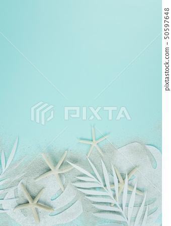 종이 야자수잎, 종이컨셉의 여름배경 50597648
