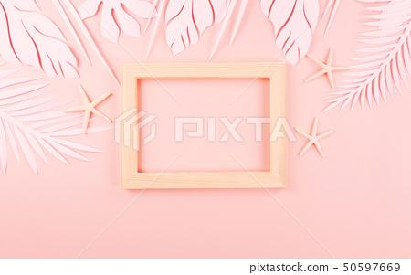 종이 야자수잎, 종이컨셉의 여름배경 50597669