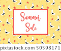 Summer Sale banner vector with seagulls pattern yellow 50598171