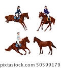 Woman, Girl riding horses Set, isolated. Family 50599179