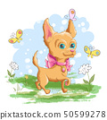 Illustration of a cute little dog with flowers and 50599278