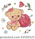 A set of teddy bear and yarn for knitting. Hand 50599325