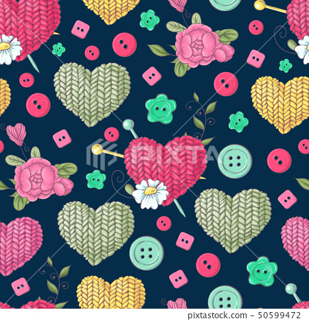 Seamless pattern knitted clothes tangle of spokes. 50599472