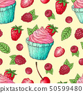 Seamless pattern cupcakes strawberry raspberry 50599480