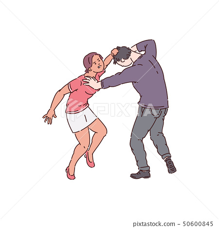 Woman attacking a man, hair pulling and bullying by female abuser 50600845