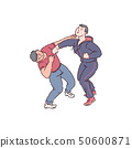 Two men fist fight 50600871