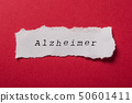 white torn paper on red paper - Alzheimer 50601411