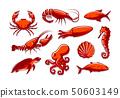 Set of sea creatures icons. Crab, shrimp, tuna, squid, lobster, octopus, shell, turtle, seahorse 50603149