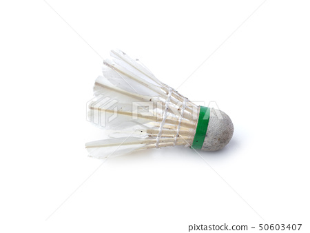 Dirty shuttlecock for badminton isolated on white 50603407