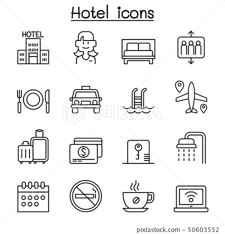 Hotel icon set in thin line style 50603552
