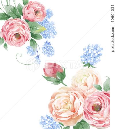 우아한 수채화 작약 꽃 50604031