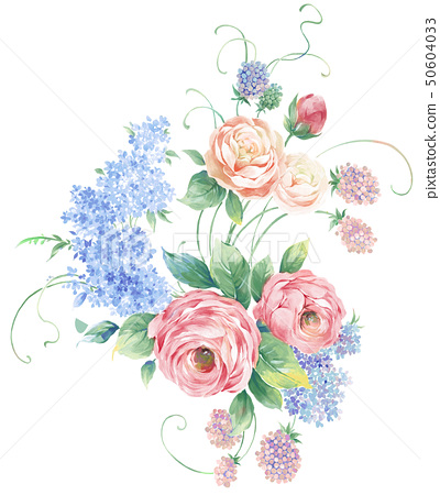 優雅的水彩牡丹花卉 50604033