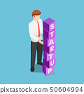 Isometric businessman arranging blocks with the 50604994